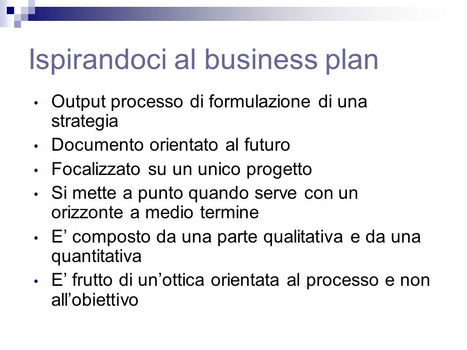 Ispirandoci al business plan