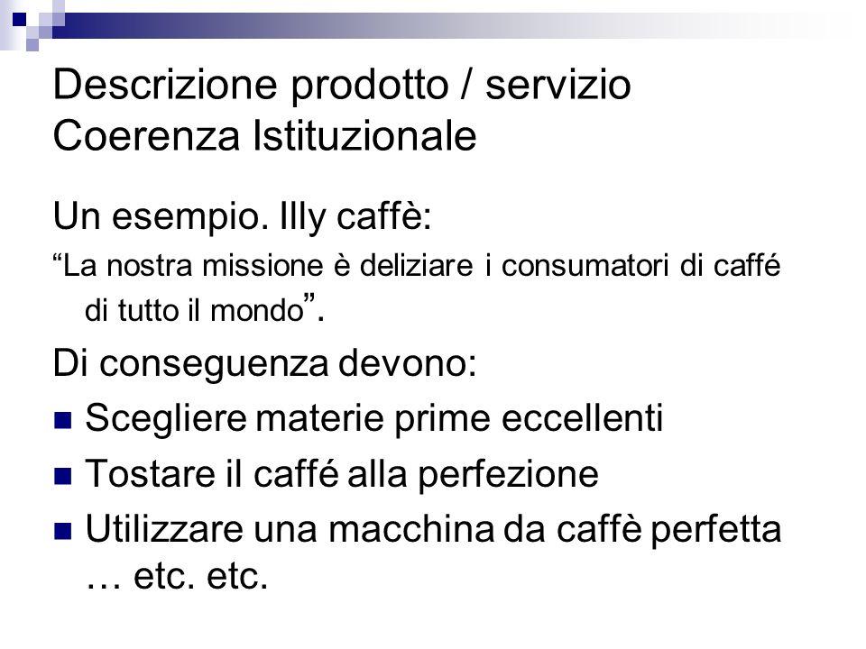 Descrizione prodotto / servizio Coerenza Istituzionale