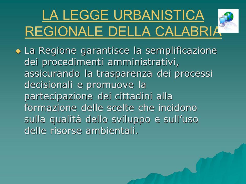 LA LEGGE URBANISTICA REGIONALE DELLA CALABRIA