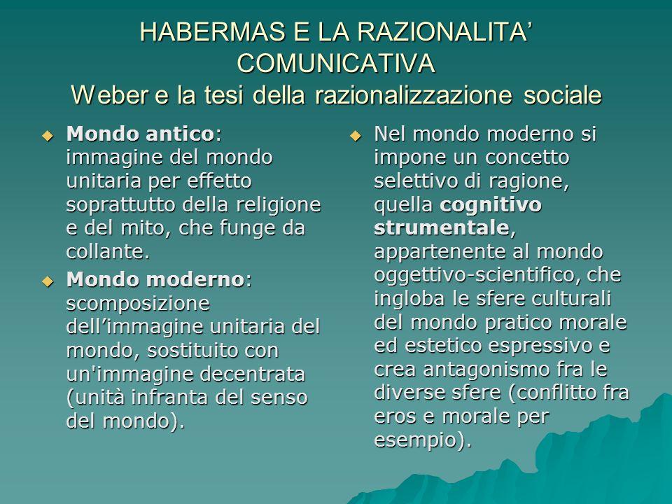 HABERMAS E LA RAZIONALITA' COMUNICATIVA Weber e la tesi della razionalizzazione sociale