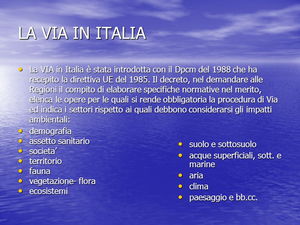 LA VIA IN ITALIA