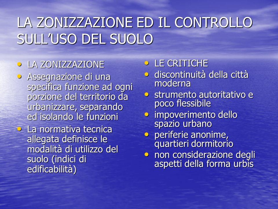 LA ZONIZZAZIONE ED IL CONTROLLO SULL'USO DEL SUOLO