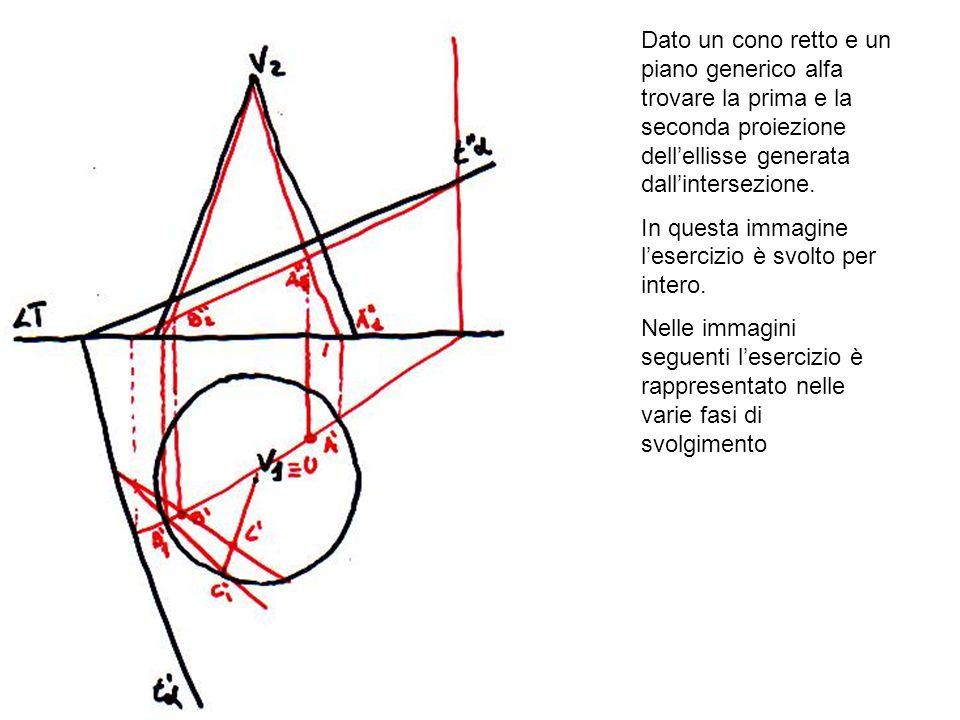 Dato un cono retto e un piano generico alfa trovare la prima e la seconda proiezione dell'ellisse generata dall'intersezione.