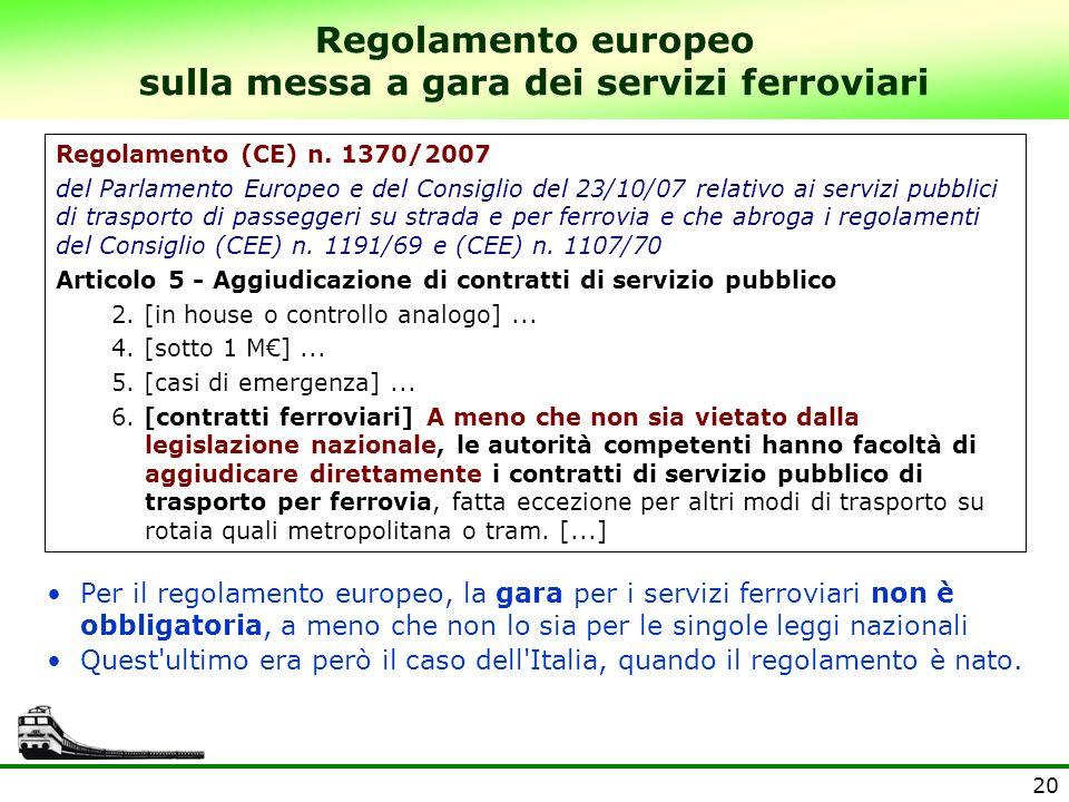 Regolamento europeo sulla messa a gara dei servizi ferroviari
