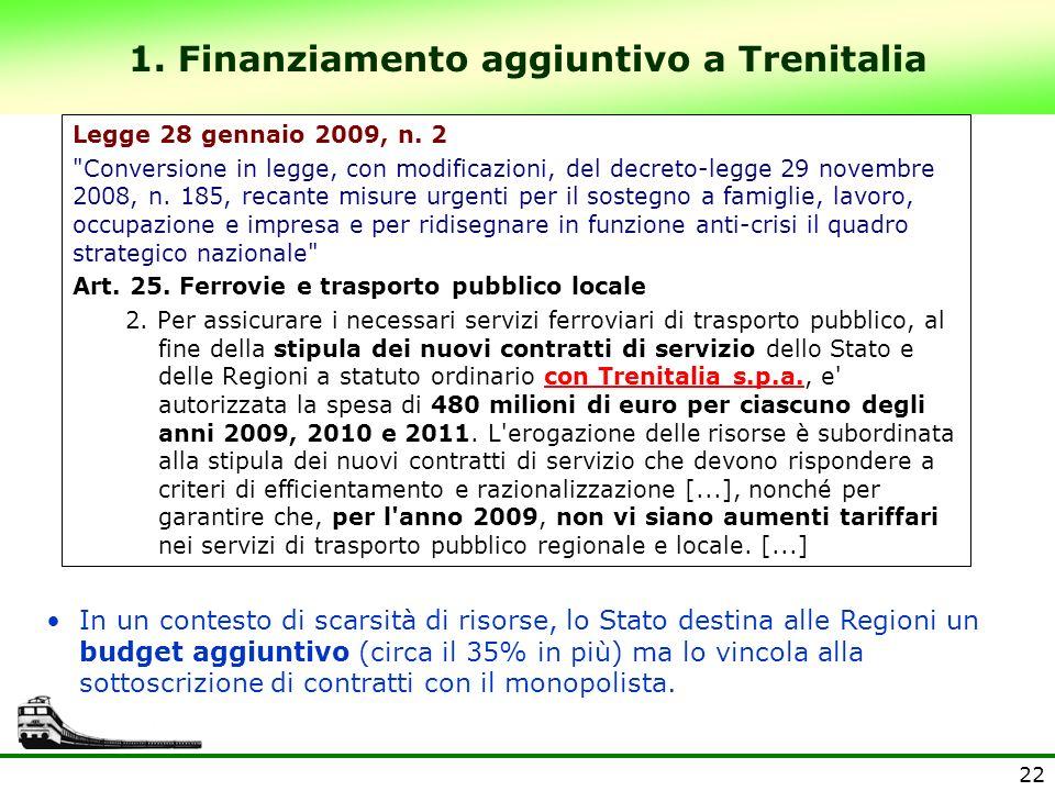 1. Finanziamento aggiuntivo a Trenitalia