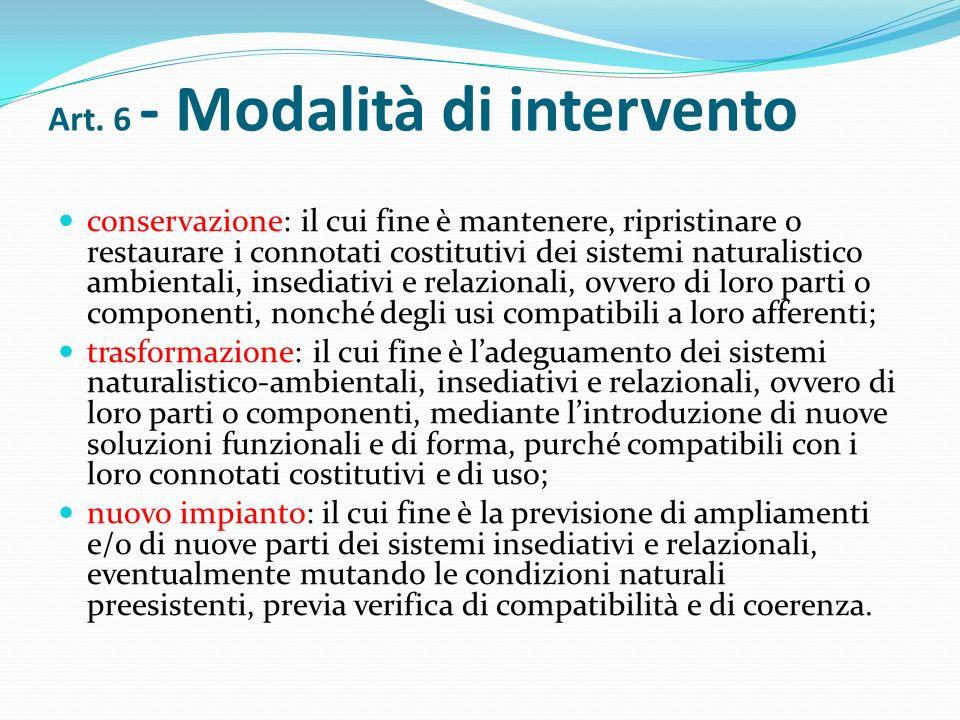 Art. 6 - Modalità di intervento
