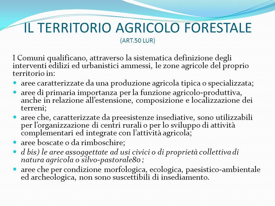 IL TERRITORIO AGRICOLO FORESTALE (ART.50 LUR)