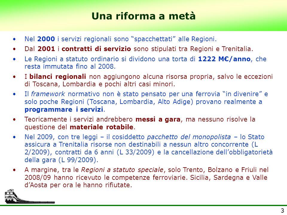 Una riforma a metà Nel 2000 i servizi regionali sono spacchettati alle Regioni.