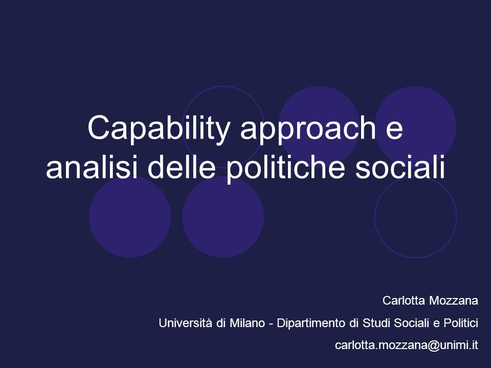 Capability approach e analisi delle politiche sociali