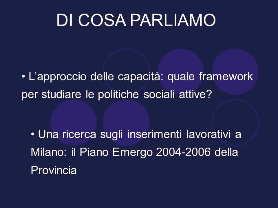 DI COSA PARLIAMO L'approccio delle capacità: quale framework per studiare le politiche sociali attive