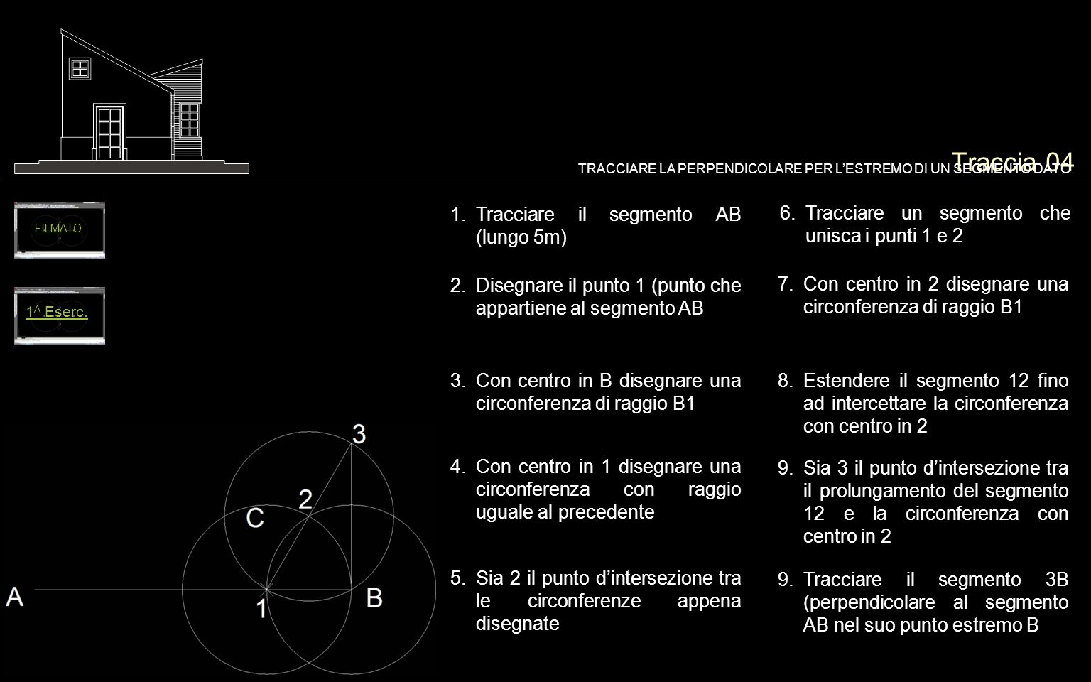 Traccia 04 Tracciare un segmento che unisca i punti 1 e 2