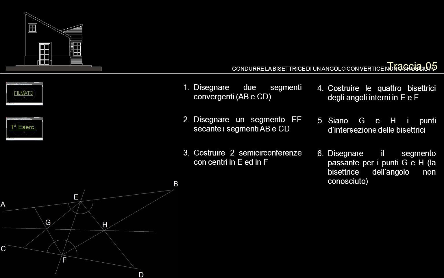 Traccia 05 Disegnare due segmenti convergenti (AB e CD)