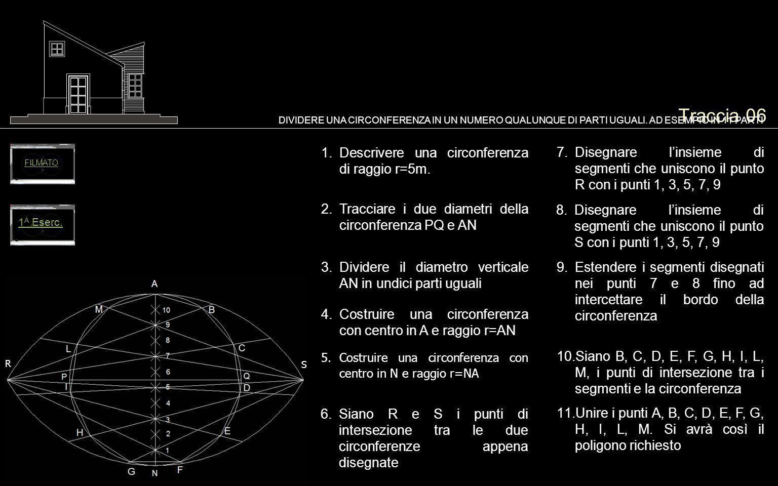 Traccia 06 Descrivere una circonferenza di raggio r=5m.