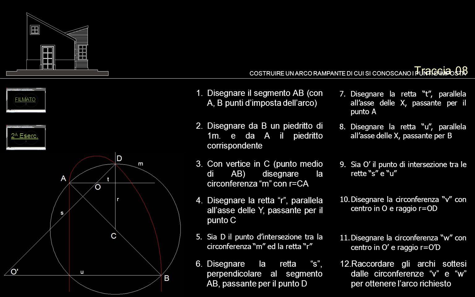 Traccia 08 COSTRUIRE UN ARCO RAMPANTE DI CUI SI CONOSCANO I PUNTI D'IMPOSTA. FILMATO. Disegnare il segmento AB (con A, B punti d'imposta dell'arco)