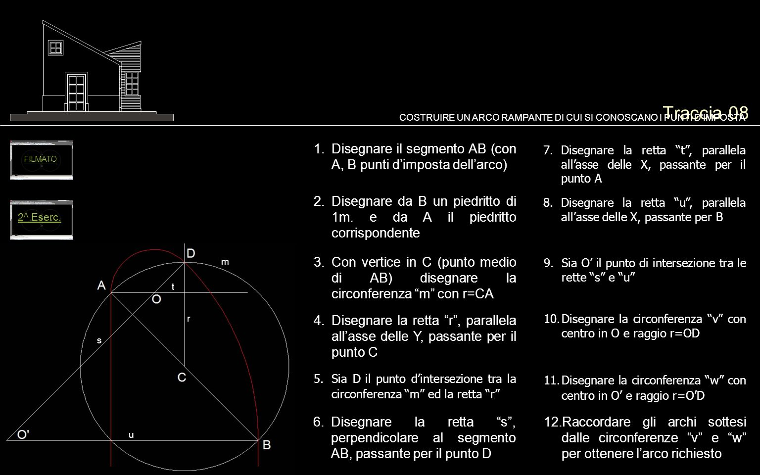 Traccia 08COSTRUIRE UN ARCO RAMPANTE DI CUI SI CONOSCANO I PUNTI D'IMPOSTA. FILMATO. Disegnare il segmento AB (con A, B punti d'imposta dell'arco)