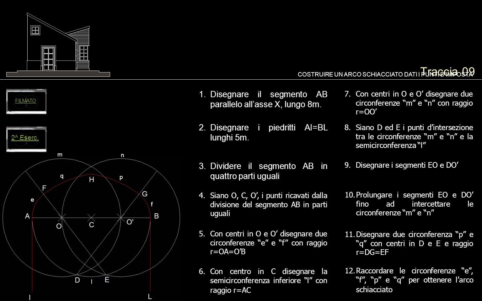 Traccia 09 Disegnare il segmento AB parallelo all'asse X, lungo 8m.