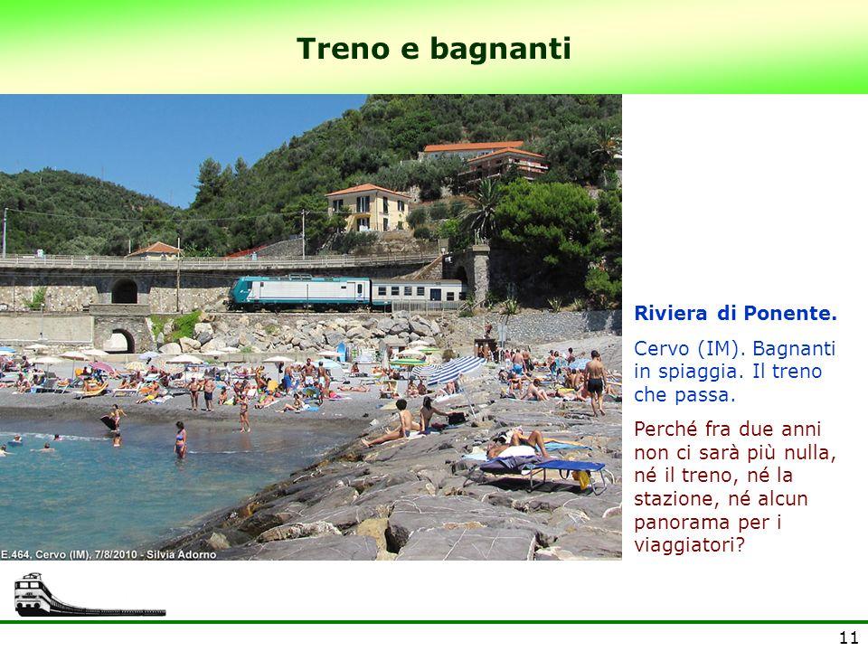 Treno e bagnanti Riviera di Ponente.