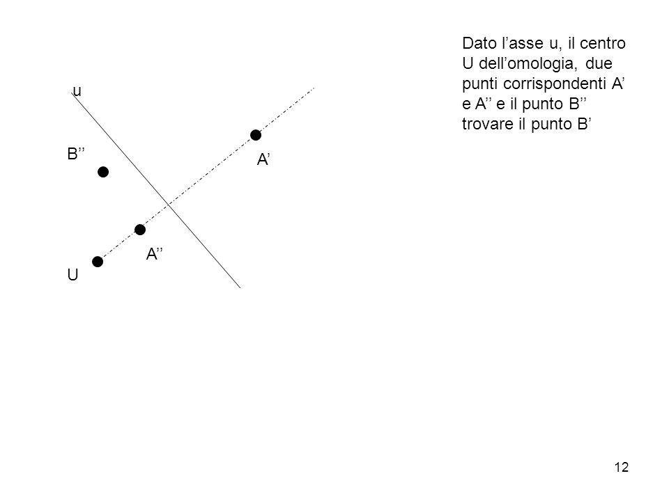 Dato l'asse u, il centro U dell'omologia, due punti corrispondenti A' e A'' e il punto B'' trovare il punto B'