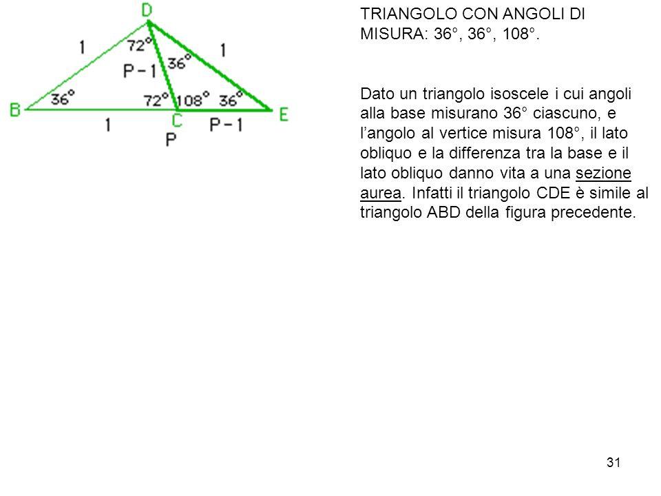 TRIANGOLO CON ANGOLI DI MISURA: 36°, 36°, 108°.