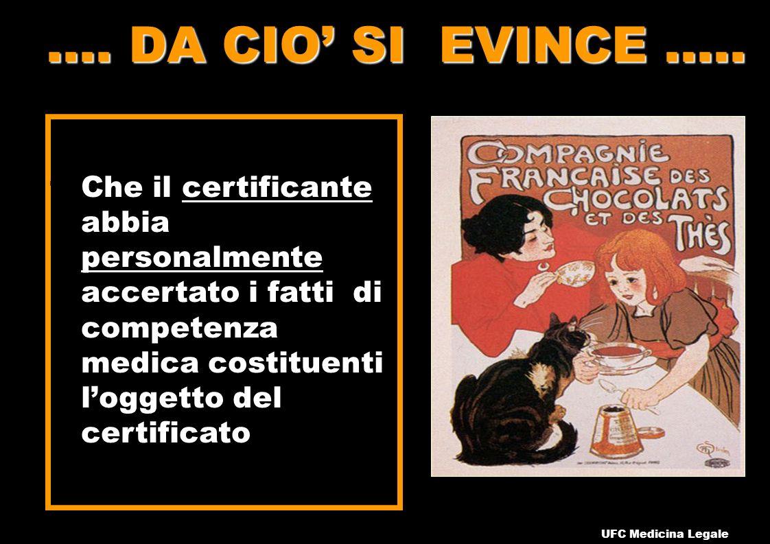 .... DA CIO' SI EVINCE ….. Che il certificante abbia personalmente accertato i fatti di competenza medica costituenti l'oggetto del certificato.