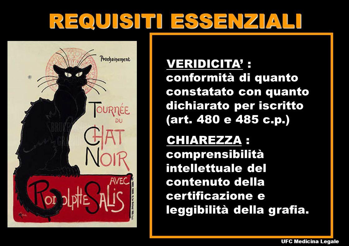 REQUISITI ESSENZIALI VERIDICITA' : conformità di quanto constatato con quanto dichiarato per iscritto (art. 480 e 485 c.p.)