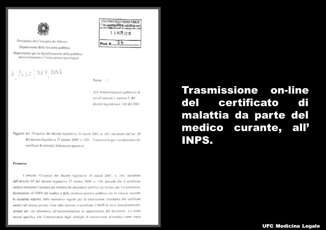 Trasmissione on-line del certificato di malattia da parte del medico curante, all' INPS.
