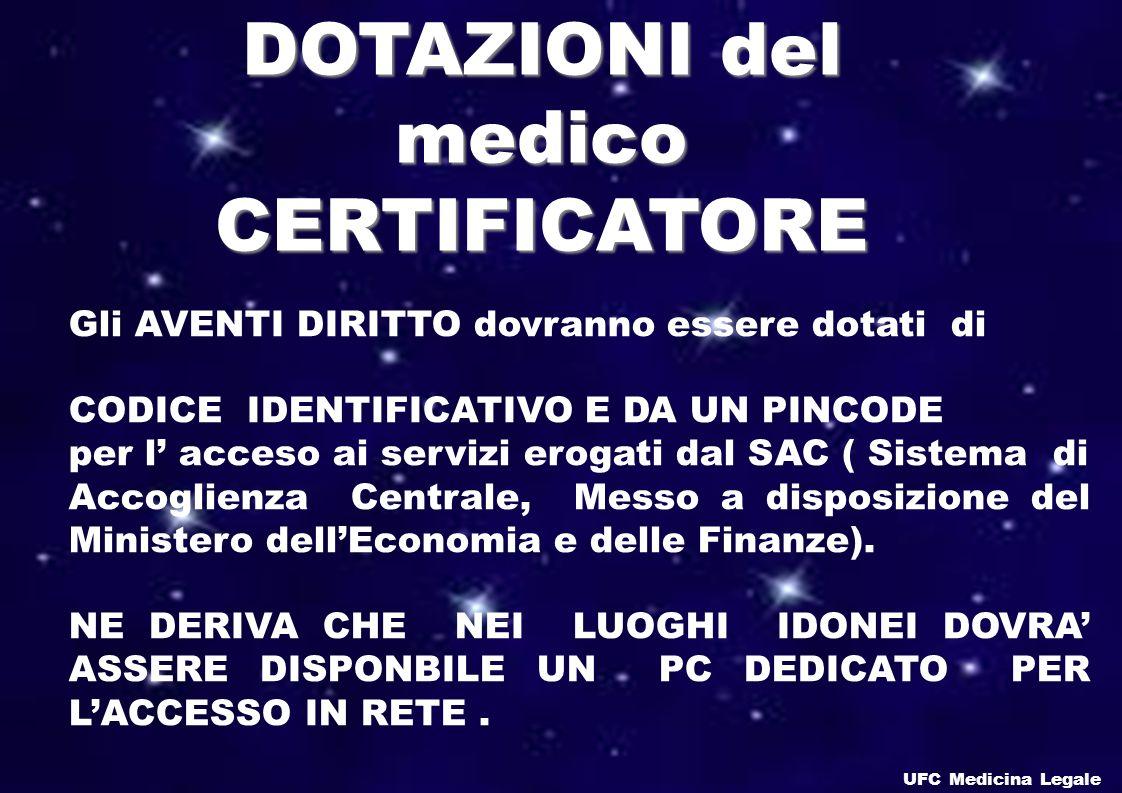 DOTAZIONI del medico CERTIFICATORE