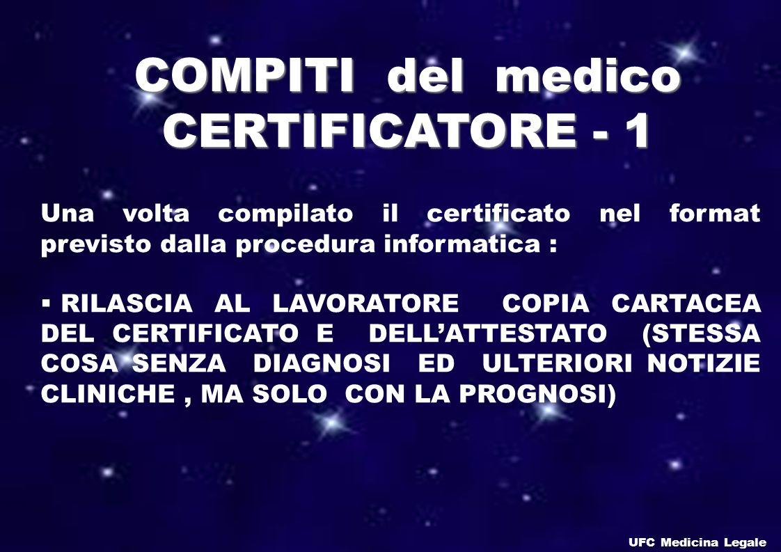 COMPITI del medico CERTIFICATORE - 1