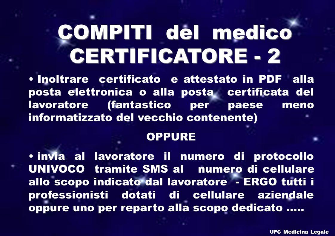 COMPITI del medico CERTIFICATORE - 2