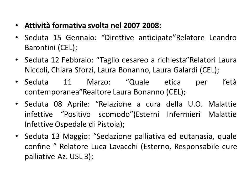 Attività formativa svolta nel 2007 2008: