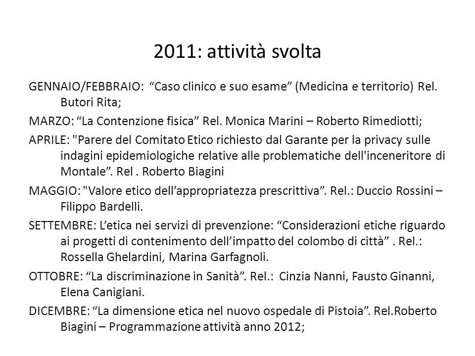 2011: attività svolta GENNAIO/FEBBRAIO: Caso clinico e suo esame (Medicina e territorio) Rel. Butori Rita;