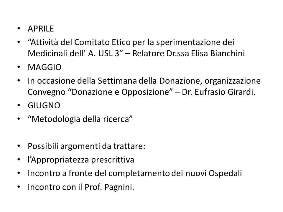 APRILE Attività del Comitato Etico per la sperimentazione dei Medicinali dell' A. USL 3 – Relatore Dr.ssa Elisa Bianchini