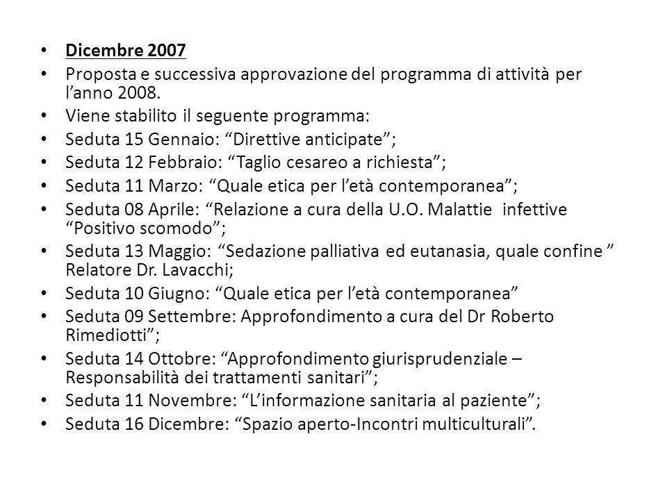 Dicembre 2007 Proposta e successiva approvazione del programma di attività per l'anno 2008. Viene stabilito il seguente programma: