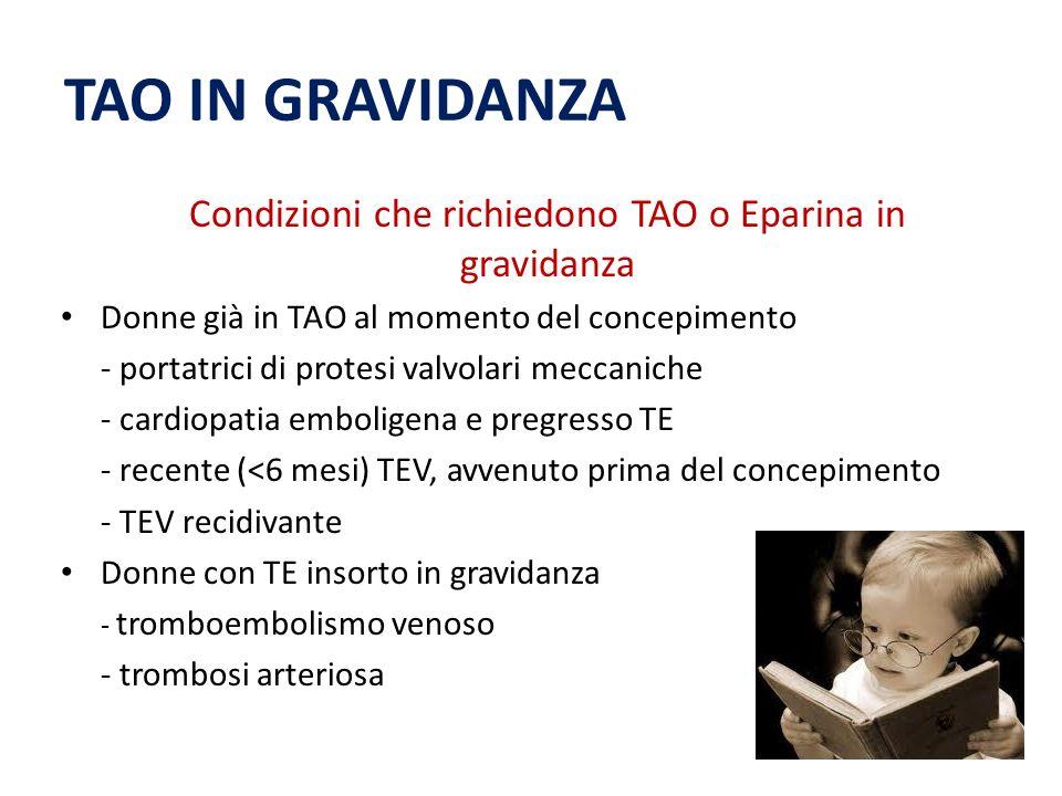 Condizioni che richiedono TAO o Eparina in gravidanza
