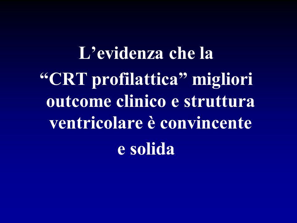 L'evidenza che la CRT profilattica migliori outcome clinico e struttura ventricolare è convincente e solida