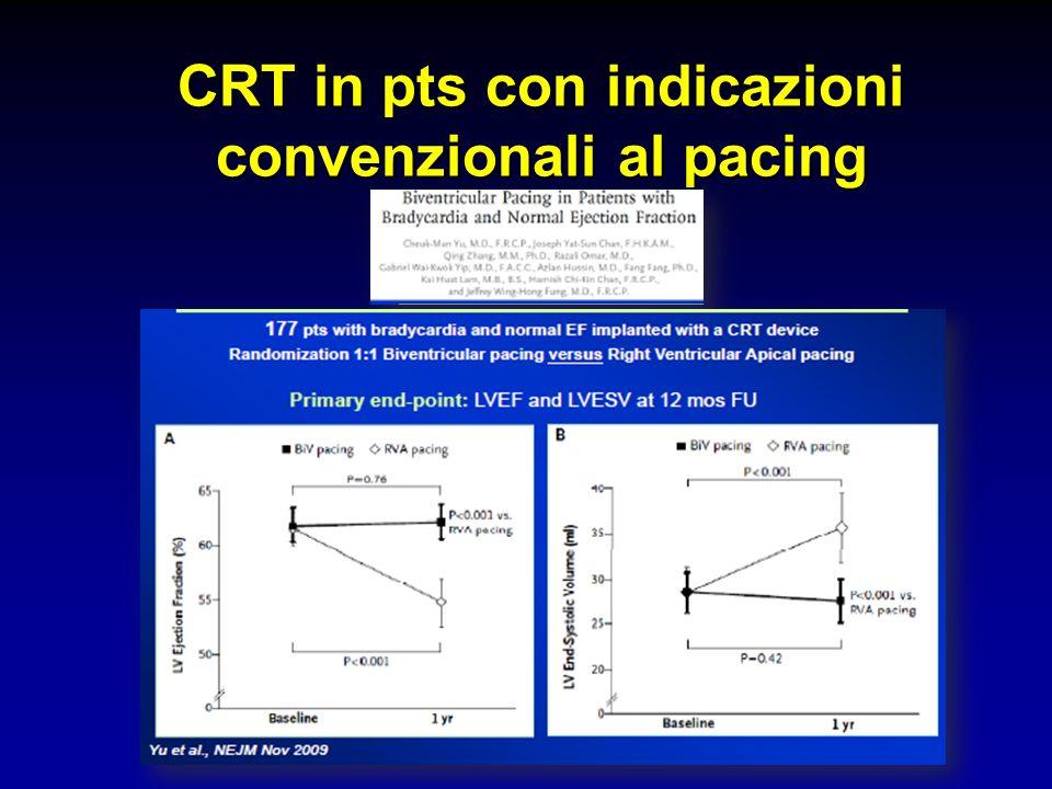 CRT in pts con indicazioni convenzionali al pacing