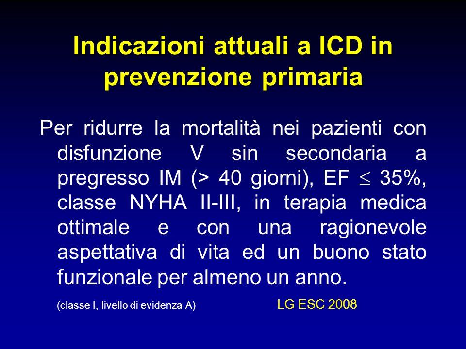 Indicazioni attuali a ICD in prevenzione primaria