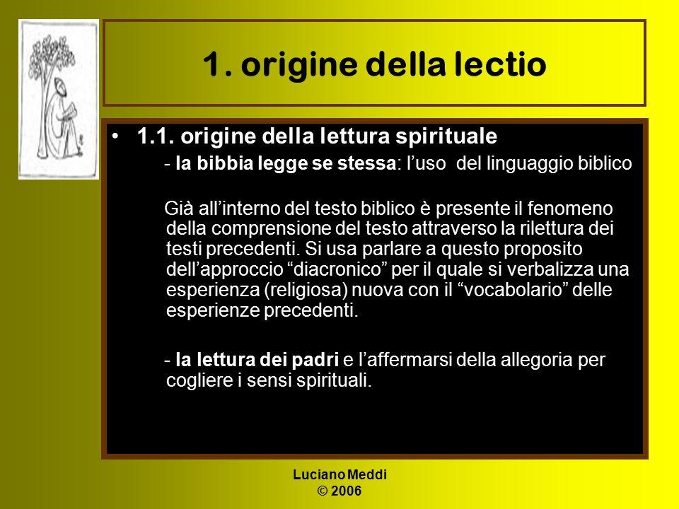 1. origine della lectio 1.1. origine della lettura spirituale