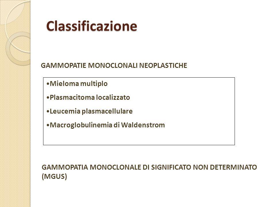 Classificazione GAMMOPATIE MONOCLONALI NEOPLASTICHE Mieloma multiplo
