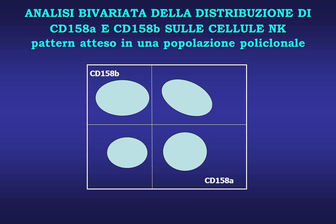 ANALISI BIVARIATA DELLA DISTRIBUZIONE DI CD158a E CD158b SULLE CELLULE NK pattern atteso in una popolazione policlonale