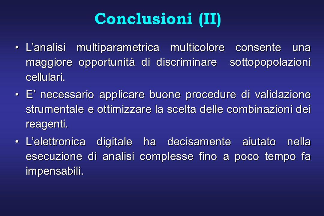 Conclusioni (II) L'analisi multiparametrica multicolore consente una maggiore opportunità di discriminare sottopopolazioni cellulari.