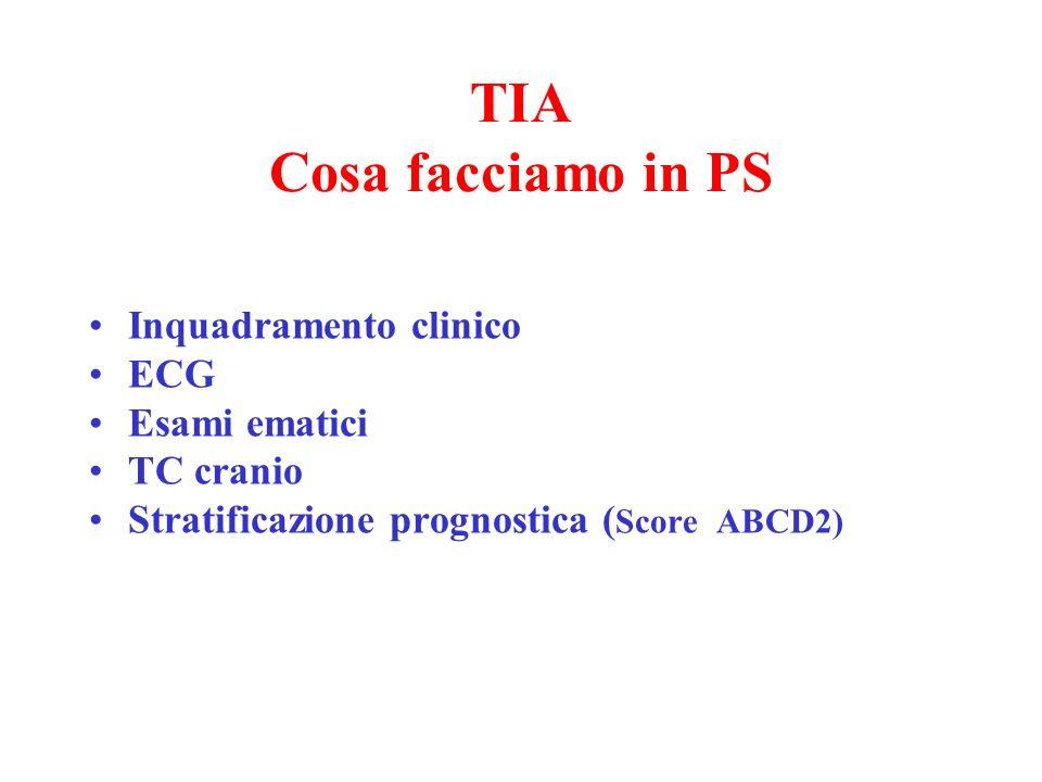 TIA Cosa facciamo in PS Inquadramento clinico ECG Esami ematici