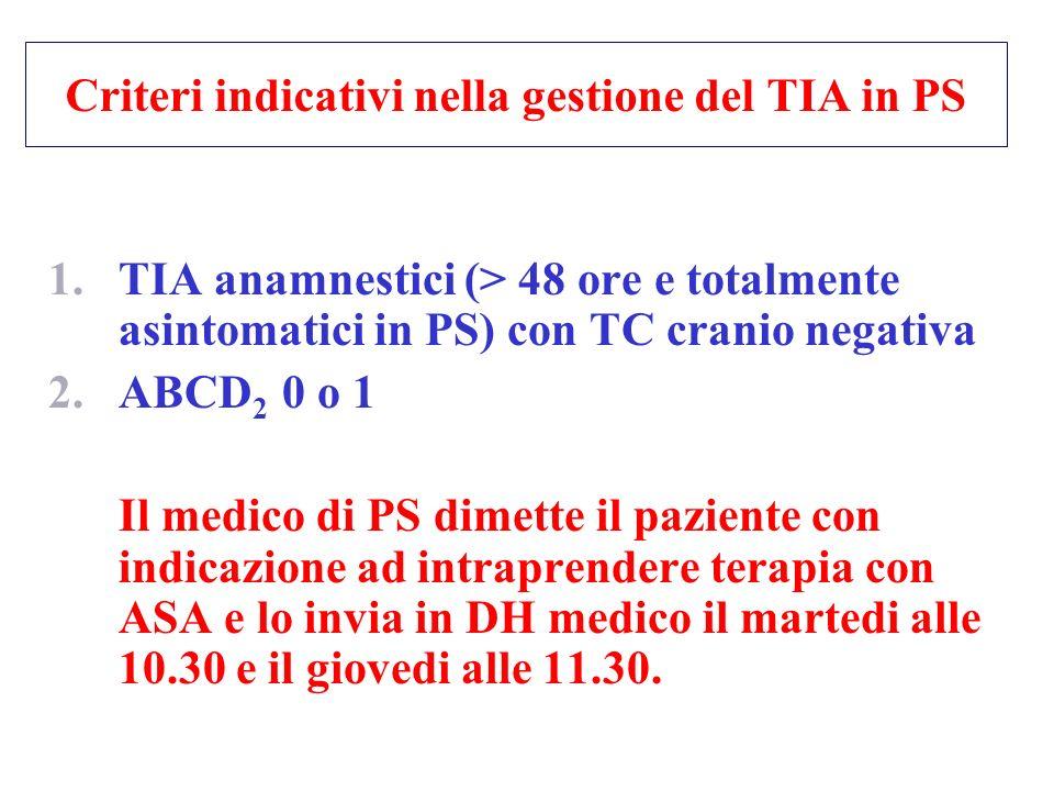 Criteri indicativi nella gestione del TIA in PS
