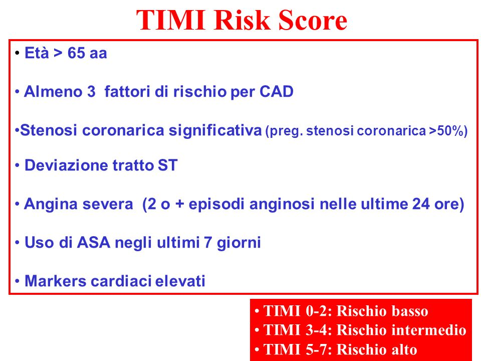 TIMI Risk Score Età > 65 aa Almeno 3 fattori di rischio per CAD