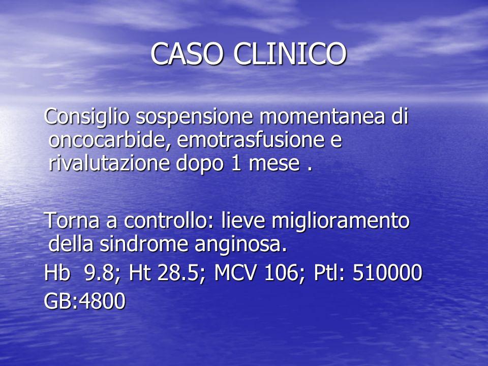 CASO CLINICO Consiglio sospensione momentanea di oncocarbide, emotrasfusione e rivalutazione dopo 1 mese .