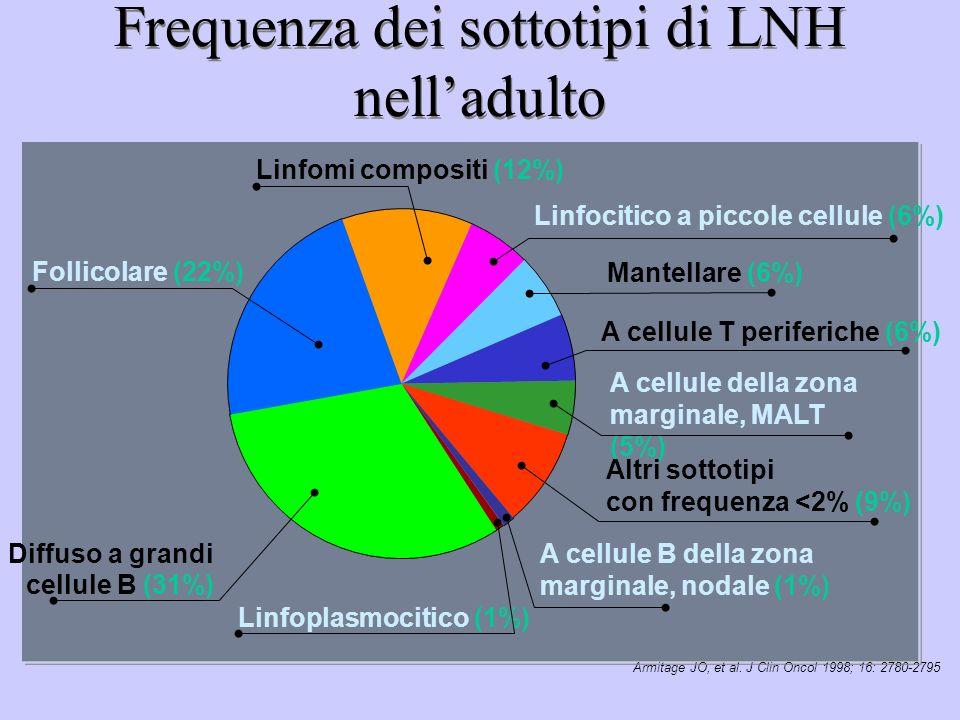 Frequenza dei sottotipi di LNH nell'adulto