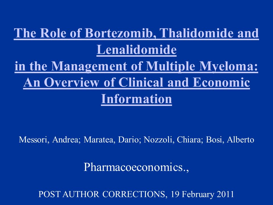 The Role of Bortezomib, Thalidomide and Lenalidomide