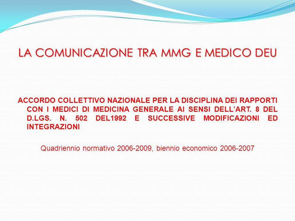 LA COMUNICAZIONE TRA MMG E MEDICO DEU