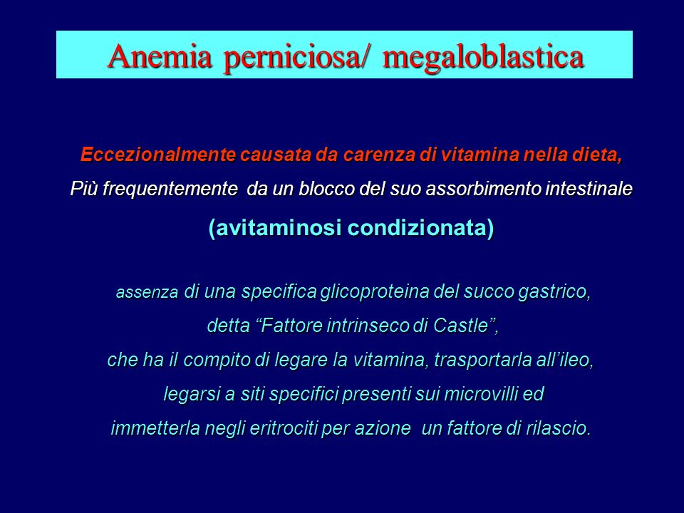 Anemia perniciosa/ megaloblastica