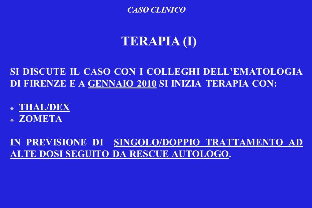 CASO CLINICO TERAPIA (I) SI DISCUTE IL CASO CON I COLLEGHI DELL'EMATOLOGIA DI FIRENZE E A GENNAIO 2010 SI INIZIA TERAPIA CON: